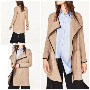 Zara Faux Leather Trim Knit Cardigan Khaki Green